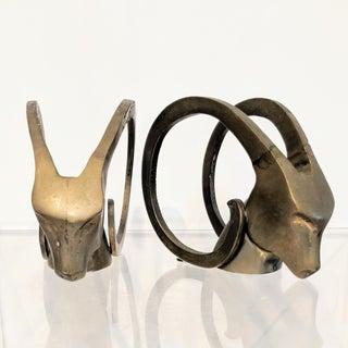 Dara International Mid-Century Modern Brass Ram Bookends - a Pair Preview