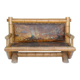 Late 19th Century Japanese Style Bamboo Settee For Sale