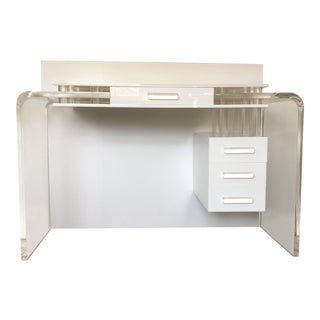 1990s Contemporary Lucite Waterfall Desk For Sale
