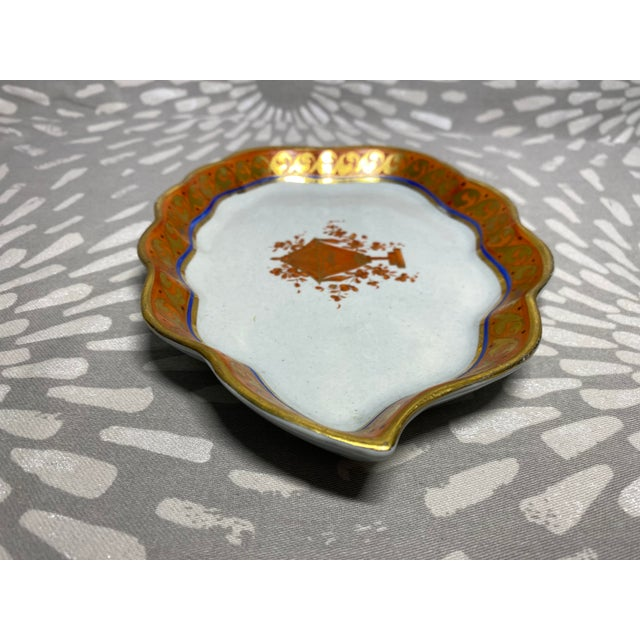 Mid 19th Century 19th Century Red Orange & Gold Handmade Hand-Painted Ceramic Pottery Catchall Dish For Sale - Image 5 of 10