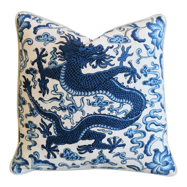 """Italian Chinoiserie Scalamandre Dragon Feather/Down Pillow 19"""" Square For Sale"""