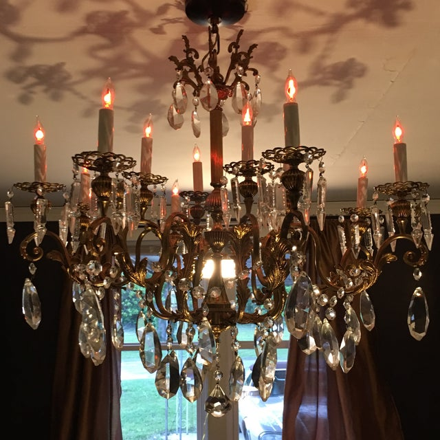 Absolutely exquisite 20th century chandelier with hand cut lead crystal prisms which are unusually large and feature a...