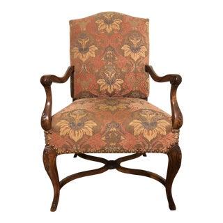 19th Century Baroque Style Italian Walnut Armchair For Sale