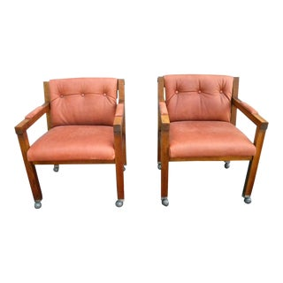 Vintage Mid Century Modern Pair of Oak Side by Side Chairs For Sale