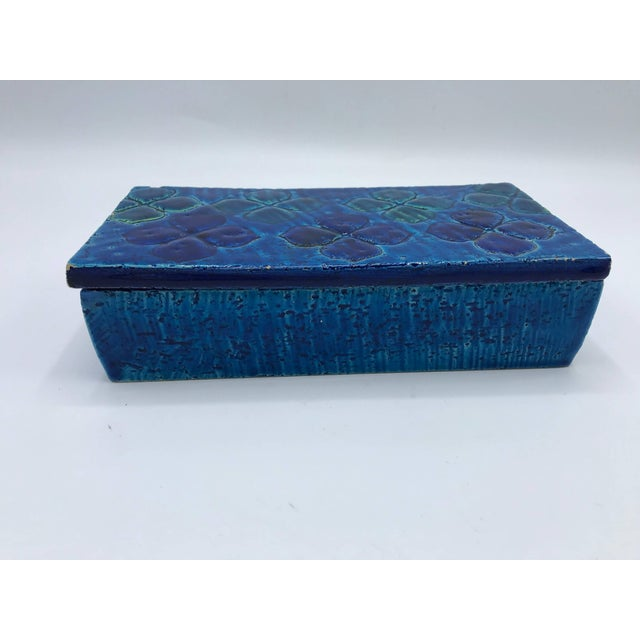 Mid 20th Century Aldo Londi Bitossi Blue Clover Motif Box, Sample #10/20 For Sale - Image 5 of 10