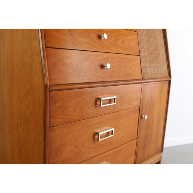 1960s Danish Modern Kipp Stewart for Drexel Walnut/Brass Tall Dresser For Sale - Image 4 of 5