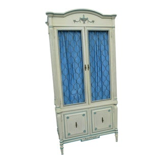 French Painted Two Part Armoire Wardrobe Cabinet by Cellini Furniture For Sale