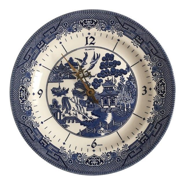 Churchill England Ceramic Blue Willow Clock Plate For Sale
