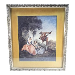 Vintage Romantic French Fragonard Framed Print Romanced by a Mandolin Player For Sale
