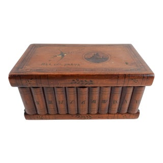 Antique Inlay Box With Sparrow & Ship For Sale