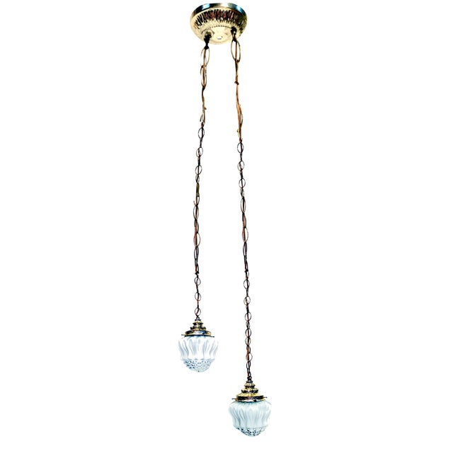 Vintage Frosted Diamond Cut Double Pendant Hanging Lamp - Image 1 of 8