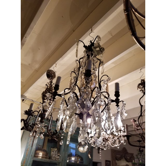 French Four Light Chandelier With Cut Crystal Prisms For Sale - Image 11 of 12