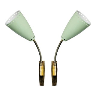 Italian Enameled Metal and Brass Gooseneck Sconces - a Pair For Sale