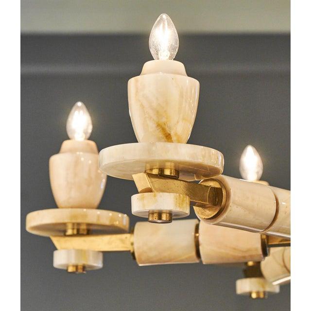 Vintage Italian Brass Onyx Chandelier For Sale - Image 9 of 11