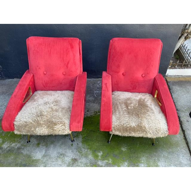 Metal Pair of Exuberant Maurice Mourra Mid-Century Chairs For Sale - Image 7 of 8