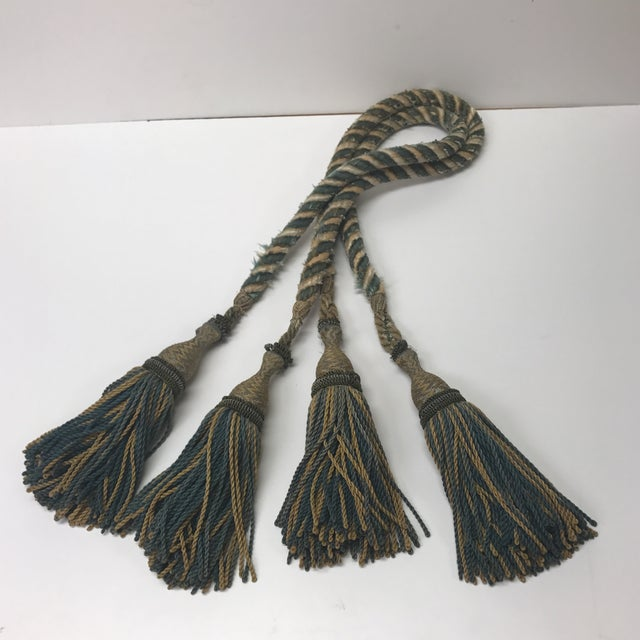 Blue Set of 19th Century French Tassels With Rope Tie Backs For Sale - Image 8 of 8