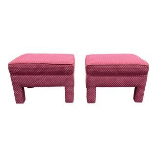 Upholstered Vintage Parsons Ottomans After Milo Baughman - a Pair For Sale