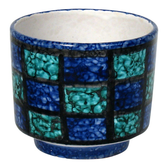 Mid-Century Teal & Blue Cachepot - Image 1 of 4