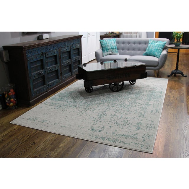 "Vintage Faded Persian Teal Distressed Rug - 5'3"" X 7'7"" For Sale In Chicago - Image 6 of 7"