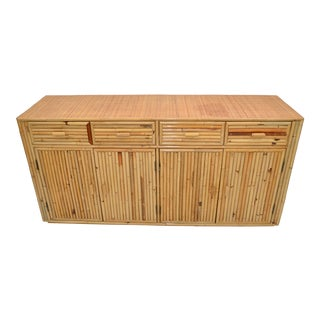 Chinoiserie Asian Modern Bamboo & Hand Woven Cane Top Dresser, Credenza 1970s For Sale