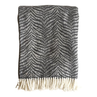 Fringed Charcoal Tiger Throw Blanket For Sale