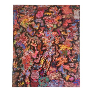 """Jean Dubuffet Vintage 1999 Abstract Lithograph Calendar Print """" Propitious Moment """" 1962 For Sale"""