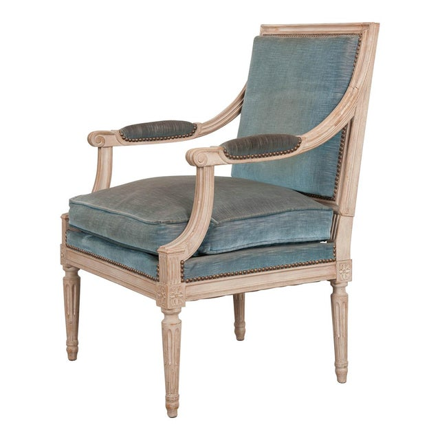 19th Century French Louis XVI Style Painted Fauteuil Chair For Sale - Image 12 of 12