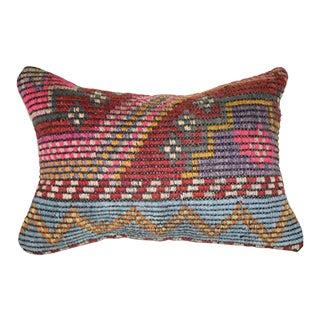 Vintage Jajim Kilim Pillow Cover, Hanmade Lumbar Pillow Cover 14'' X 20'' (35 X 50 Cm) For Sale