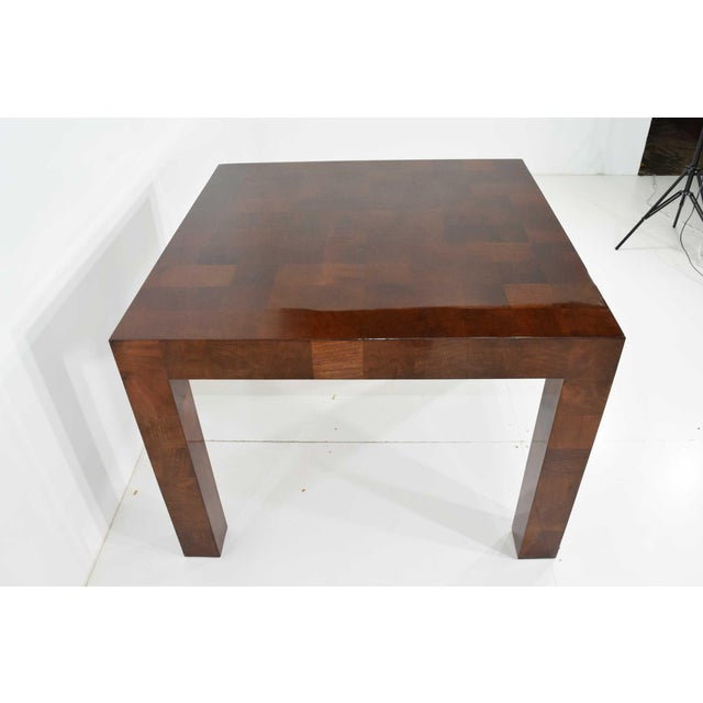 Milo Baughman Burl Wood Parquet Card or Dining Table For Sale - Image 11 of 13