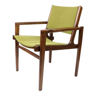 1950s Vintage Jens Risom La Chaise Inc Mid Century Modern Walnut Wooden Arm Chair For Sale