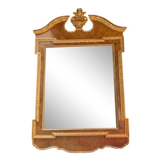 Baker Furniture Gold Mirror With Burled Wood For Sale