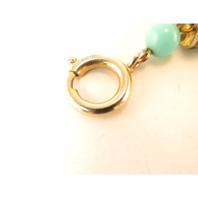 Miriam Haskell Turquoise Glass Necklace & Bracelet Set, Made in Germany 1950s For Sale - Image 12 of 13