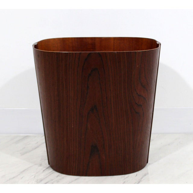 Mid Century Modern Small Wooden Wastebasket Trash Can Mobler Denmark 1960s For Sale - Image 9 of 12