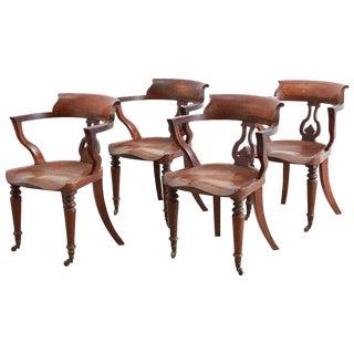 19th Century English Mahogany Captain's Pub Chairs For Sale