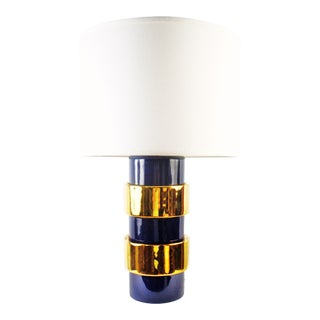 Jamie Young Nash Table Lamp Blue With Gold Bands For Sale