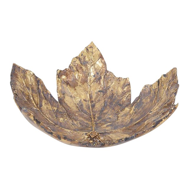Large Gold Maple Leaf Tray For Sale