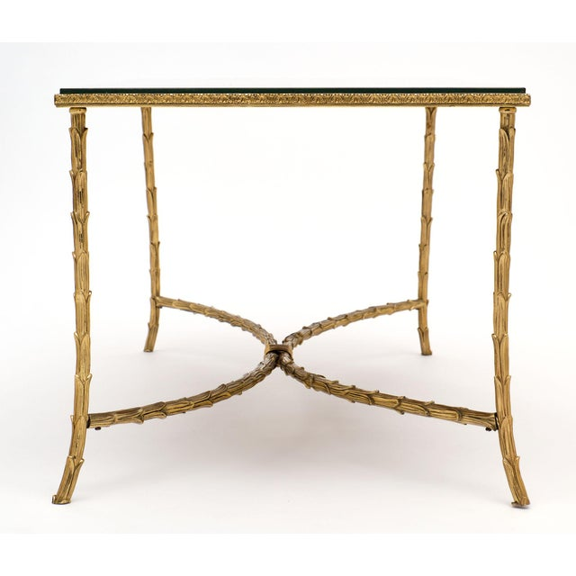 1940s Maison Charles Gold Leaf Glass Top Brass Coffee Table For Sale - Image 5 of 10