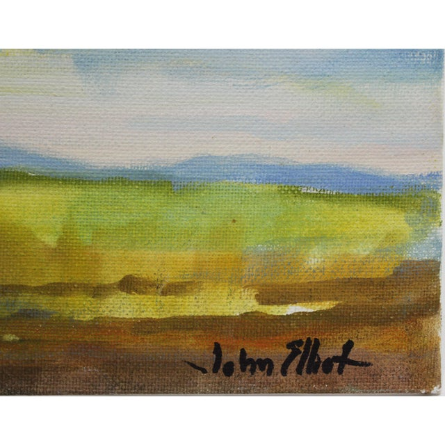 """Canvas Impressionist Small Oil Painting on Canvas Board """"Hudson Valley Skies"""" by Listed Artist John Elliot For Sale - Image 7 of 12"""