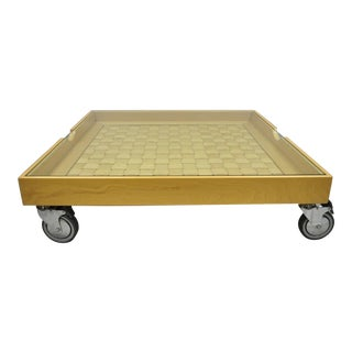 Italian Low Profile Glass Display Top Basket Weave Coffee Table Factory Cart on Wheels For Sale