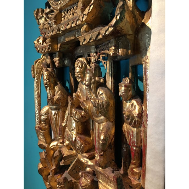Exceptional beautiful Chinese architectural fragment. Scenes of warriors on nicely detailed horses and citizens paying...