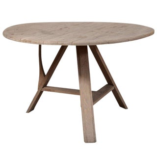 Tilt-Top Scrubbed Oak Table For Sale