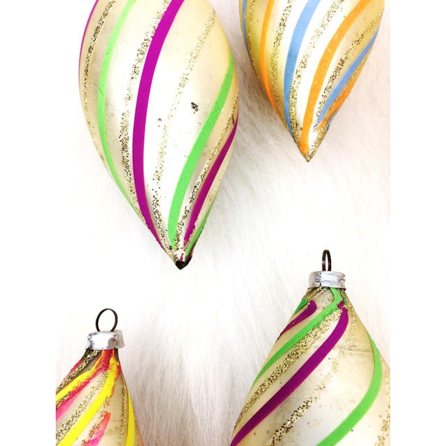 Vintage West Germany Glitter Swirl Teardrop Christmas Ornaments - Set of 6 - Image 4 of 7
