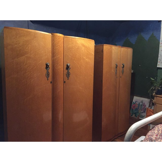 Birds Eye Maple Art Deco Wardrobes - a Pair For Sale - Image 12 of 13