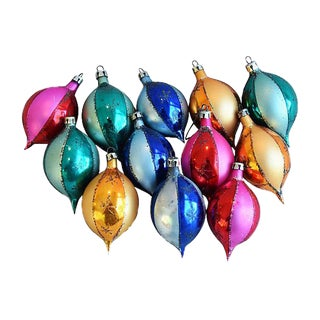 1950s Fancy Christmas Ornaments w/Box - Set of 12 For Sale