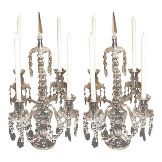 Pair of Crystal Candelabras