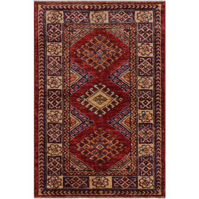 Persian Margaret Red/Beige Hand-Knotted Wool Rug - 2'0 X 2'10 For Sale