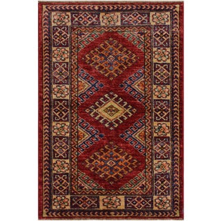 Rustic Tribal Margaret Red/Beige Hand-Knotted Wool Rug - 2'0 X 2'10 For Sale