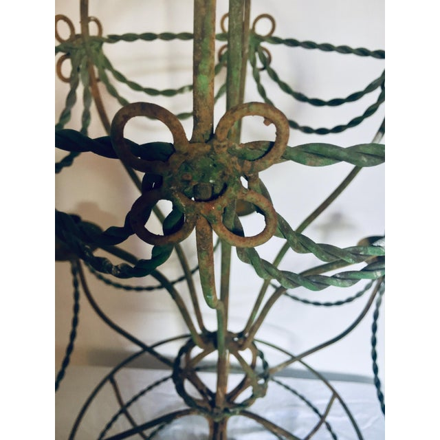 Vintage Mid Century Wrought Iron Hot Air Balloon Chandelier & Flower Basket For Sale - Image 4 of 5