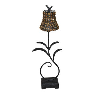 Nautical Seashell & Glass Wrought Iron Scroll Table Lamp For Sale