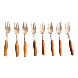 1960s Dansk Teak and Stainless Steel Salad/Dessert Forks - Set of 8 For Sale